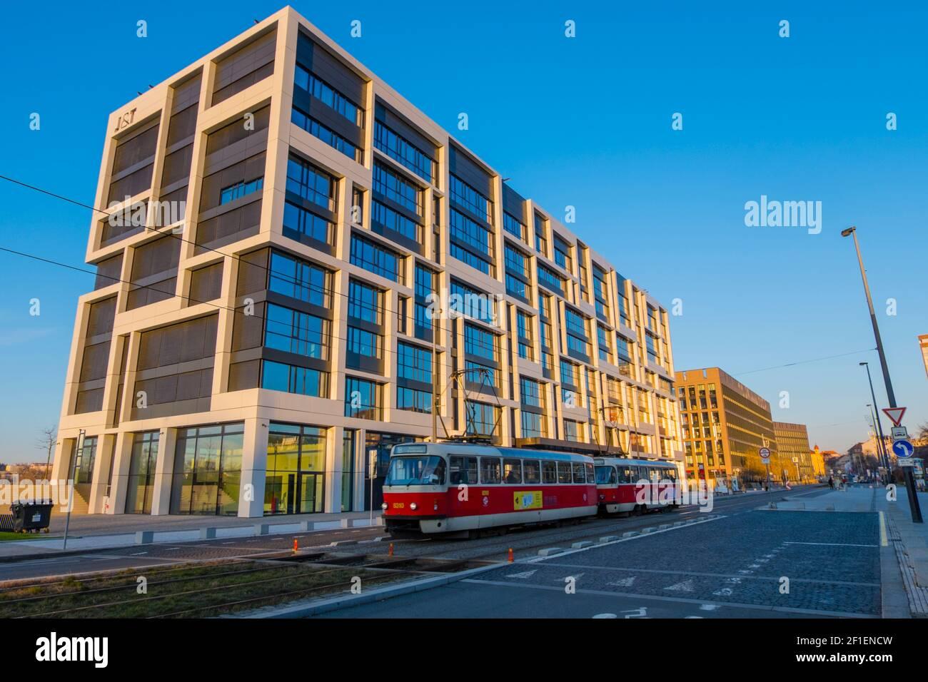 J&T Banka, edificio per uffici, Sokolovska, Karlin, Praga, Repubblica Ceca Foto Stock