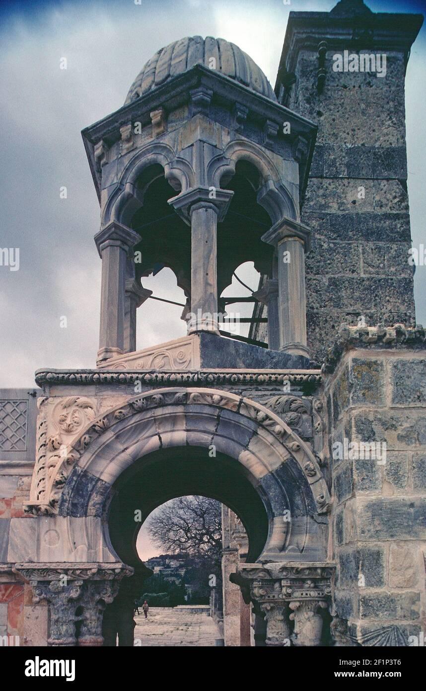 Mamluk pietra minbar di musalla di Qadi Burhan al-DIN, c.. 1350, Haram al-Sharif, Monte Tempe, Gerusalemme, Palestina Foto Stock