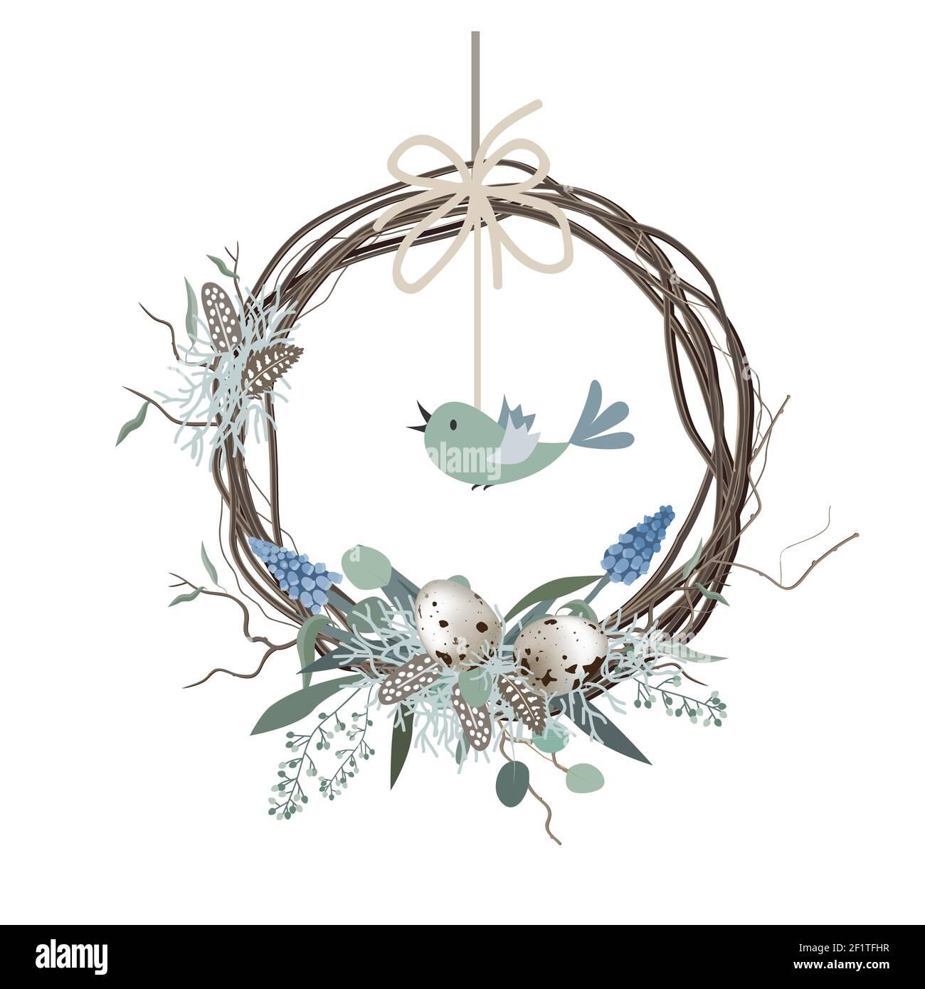 Happy Easter card, corona in stile scandinavo con uova colorate e piume d'uccello. Decorazioni primaverili. Illustrazione vettoriale disegnata a mano isolata in bianco Illustrazione Vettoriale