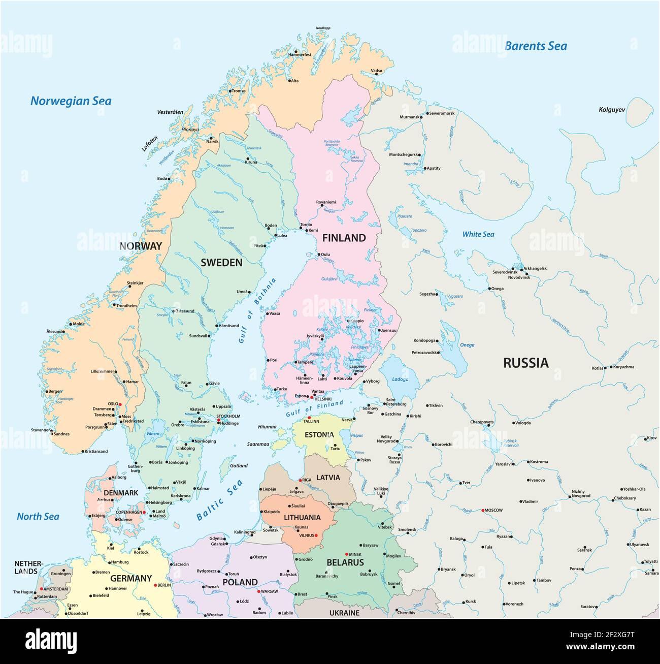 Cartina Europa Fisica Con Fiumi.Mappa Politica Scandinavia Immagini E Fotos Stock Alamy