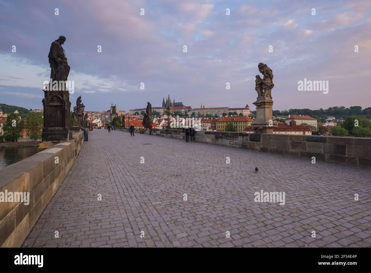 Geografia / viaggio, Czechia, Boemia, Ponte Carlo, dietro di esso della Cattedrale di San Vito, patrimonio culturale mondiale dell'UNESCO, Mala , libertà di Panorama Foto Stock