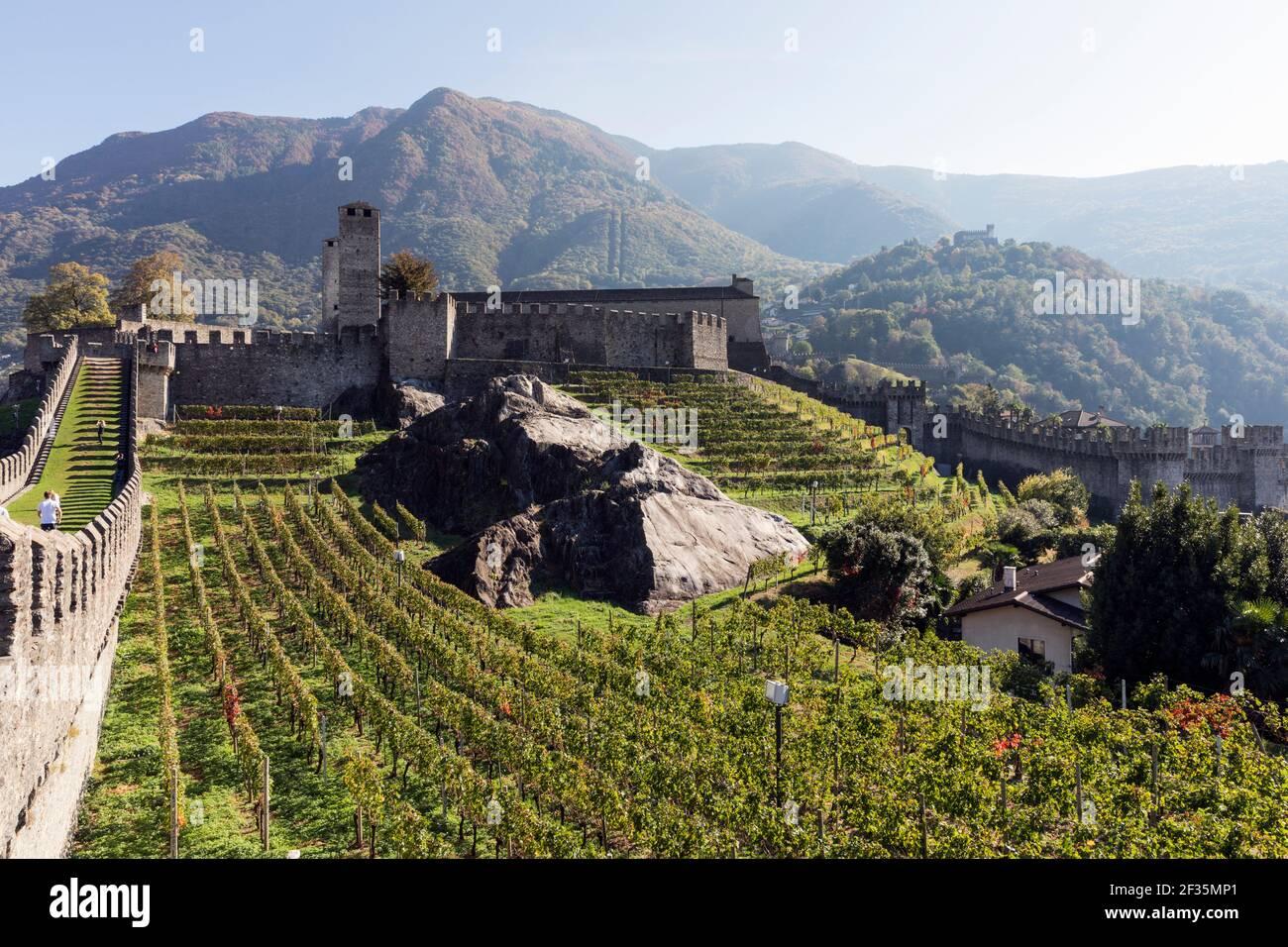 Svizzera,Ticino,Bellinzona, castello Castelgrande, Foto Stock