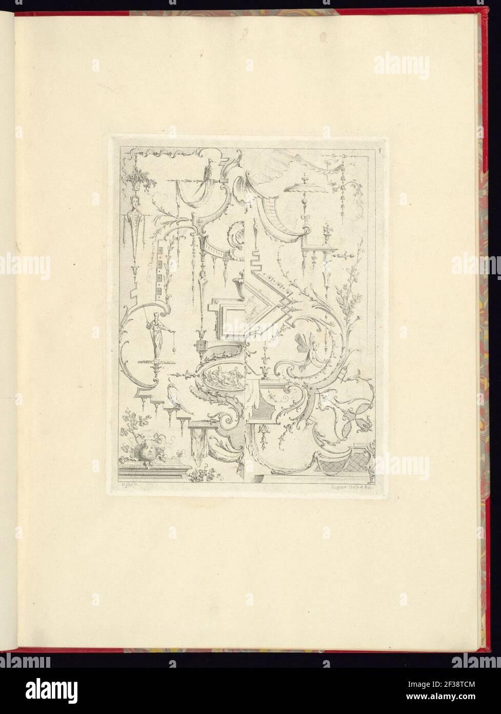 Stampa, Nouveau livre de principes d'ornements particulièrement pour trouver un nombre infini de formes qui dependent, d'après les dessins de Gillot. Peintre du Roy, gravé par Huquier; pl. 5 Foto Stock