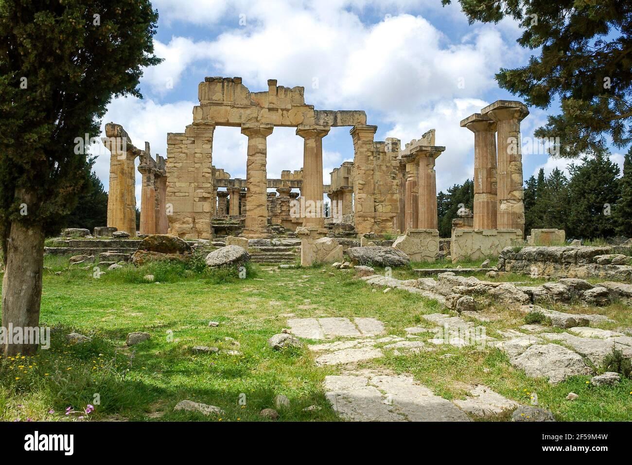 Tempio di Zeus, Cirene, Libia Foto Stock