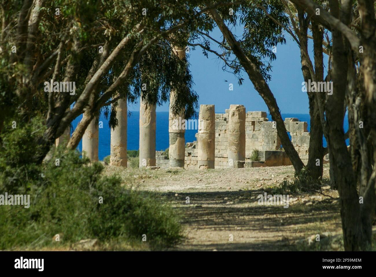 Rovine romane a Tolmeita, Libia Foto Stock