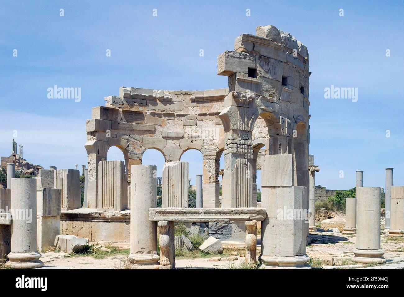 Market Place, Leptis Magna, Libia Foto Stock