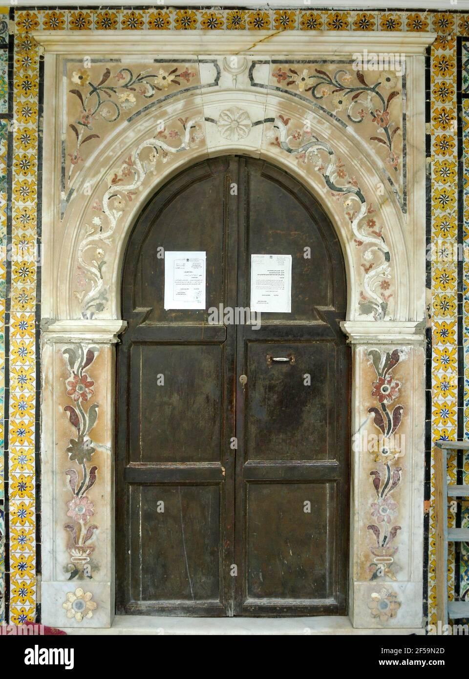 Ingresso ad arco, Moschea Gurgi, Tripoli, Libia Foto Stock