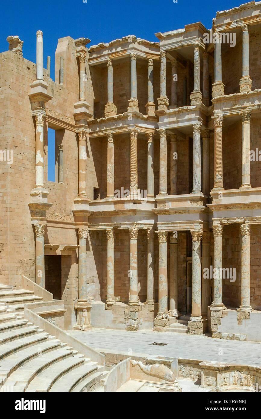 Anfiteatro romano, Sabratha, Libia Foto Stock