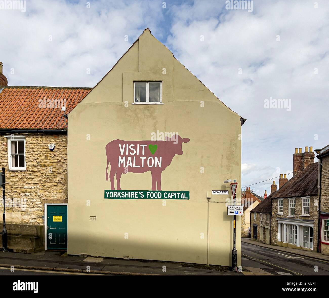 Visita il murale di Malton su una parete esterna in un negozio a Malton, North Yorkshire, Regno Unito. Foto Stock