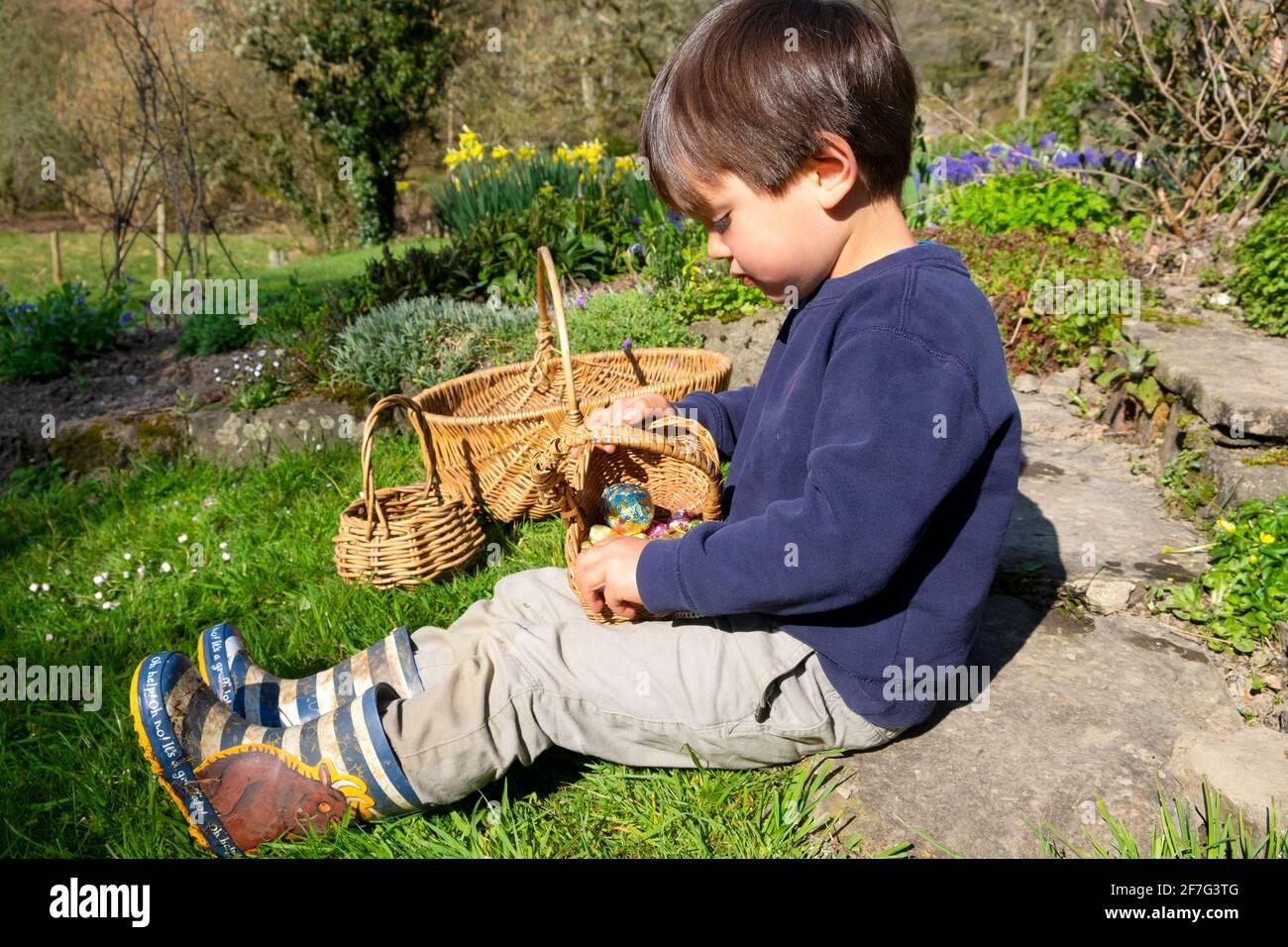 Bambino giovane ragazzo seduto in giardino dopo la caccia alle uova di Pasqua guardando giù al cestino di uova di Pasqua di cioccolato in Galles Gran Bretagna. KATHY DEWITT Foto Stock