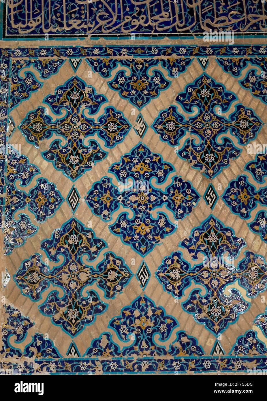 Dettaglio di lavori di stalle, Moschea Blu, Tabriz, Iran Foto Stock