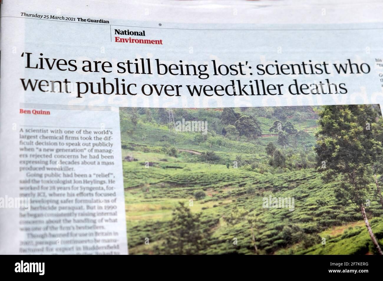 'Le vite sono ancora perdute: Scienziato che è andato pubblico sopra morti di weedkiller' titolo del giornale all'interno dell'articolo della pagina in Guardian 25 marzo 2021 UK Foto Stock