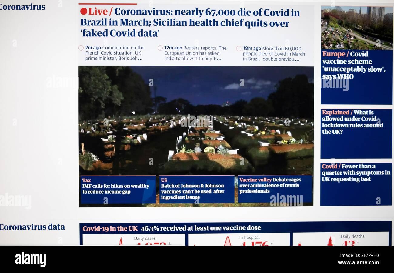 'Coronavirus quasi 67,000 morti di Covid in Brasile nel mese di marzo: Il capo della salute siciliana esce sopra 'faked Covid data' ' Guardian giornale sito web screen UK Foto Stock