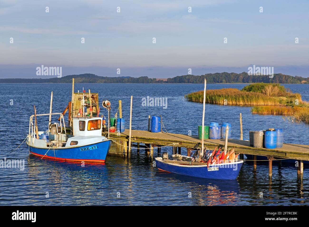 Barche da pesca ormeggiate lungo il molo di legno a Neu Reddevitz, Lancken-Granitz sull'isola di Rügen / Ruegen, Meclemburgo-Pomerania occidentale, Germania Foto Stock