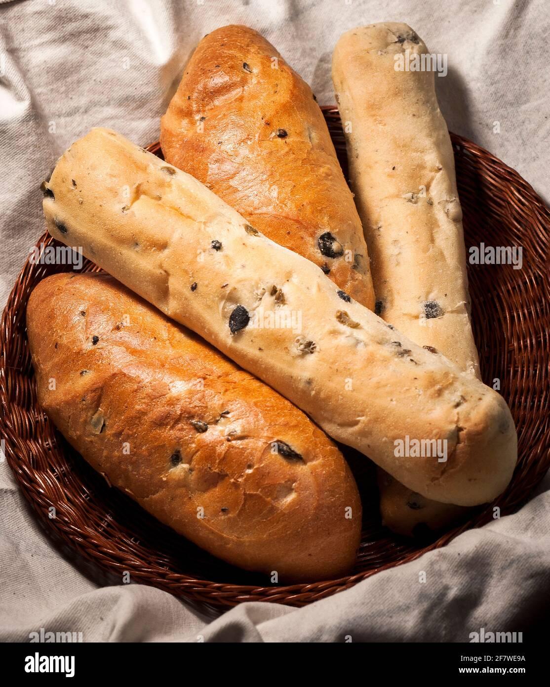 pane con olive Foto Stock