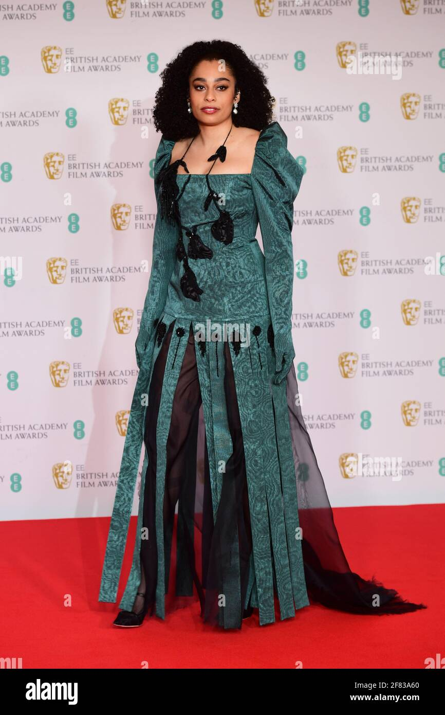 Celeste Epiphany Waite arriva per l'EE BAFTA Film Awards alla Royal Albert Hall di Londra. Data immagine: Domenica 11 aprile 2021. Foto Stock