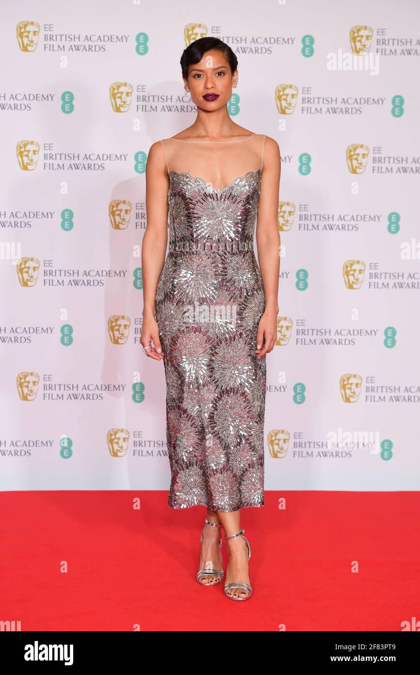 Gugu Matha-Raw arriva per l'EE BAFTA Film Awards alla Royal Albert Hall di Londra. Data immagine: Domenica 11 aprile 2021. Foto Stock