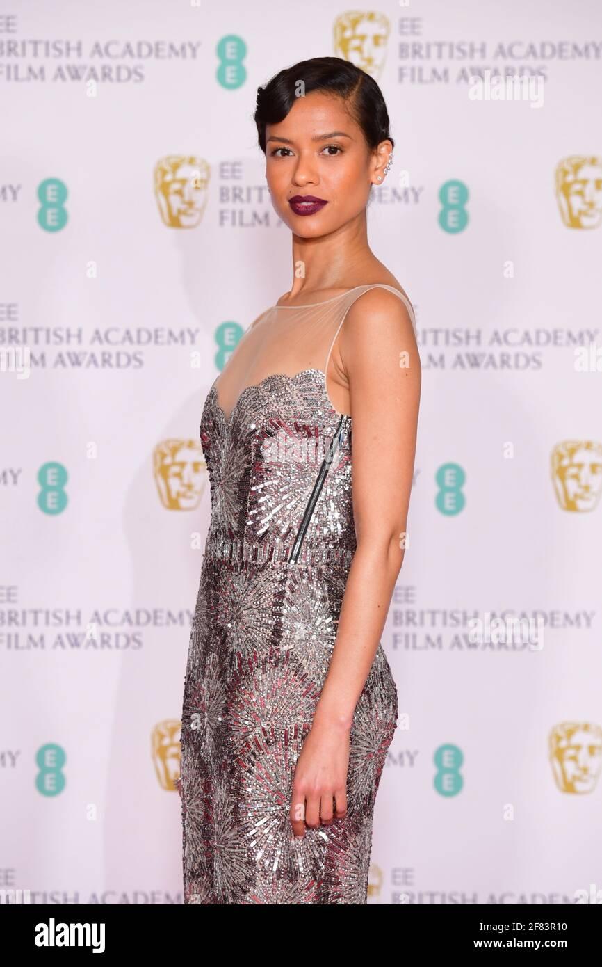Gugu Matha-Raw arriva per l'EE BAFTA Film Awards alla Royal Albert Hall di Londra. Data immagine: Domenica 11 aprile 2021. Foto Stock