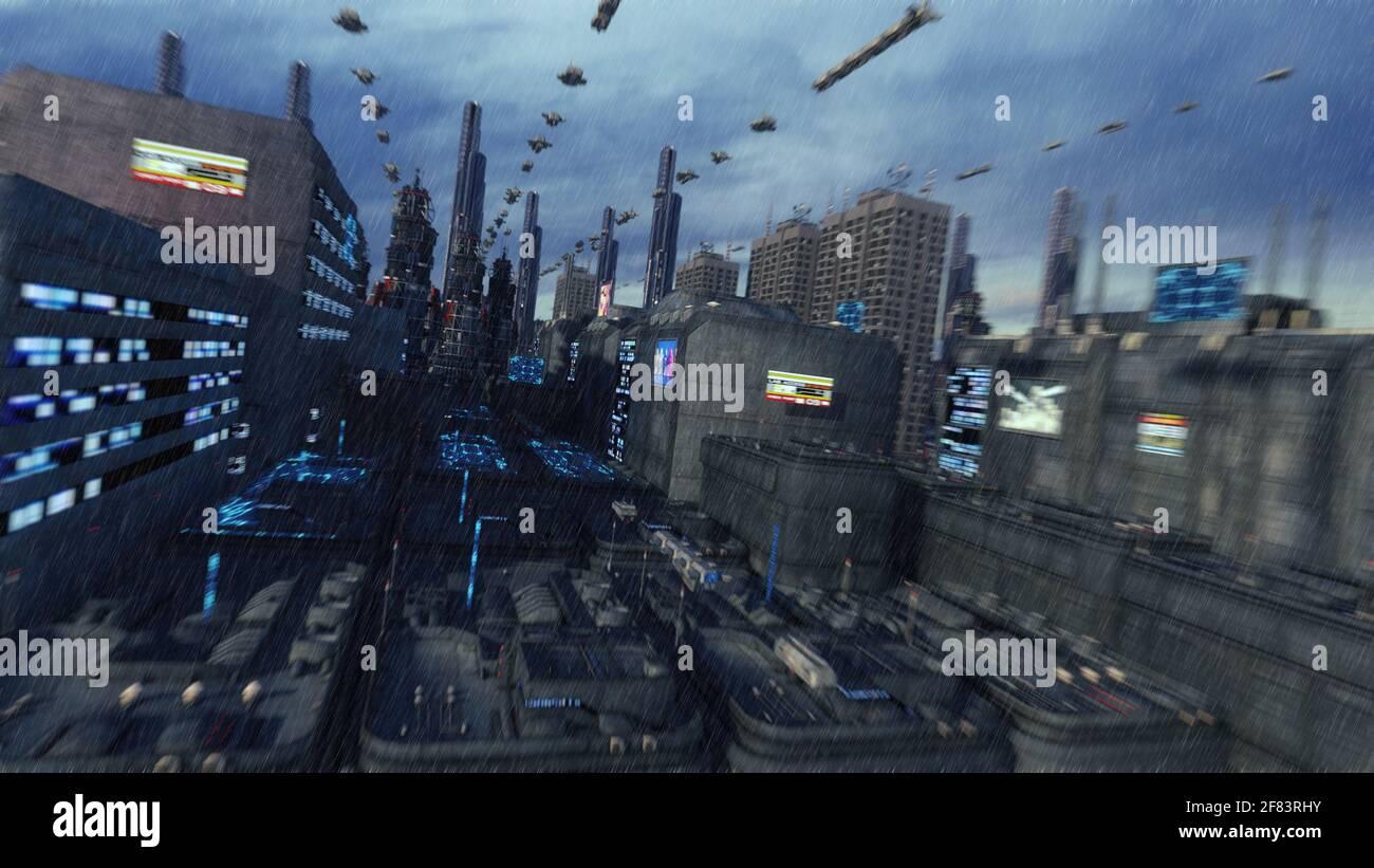 Il rendering 3d. Città futuristica e astronavi Foto Stock