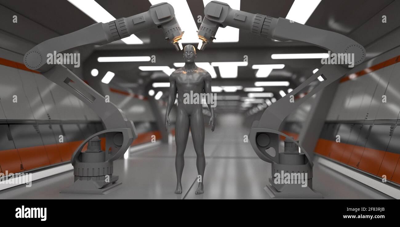 rendering 3d. Scena futuristica e figura umanoide Foto Stock