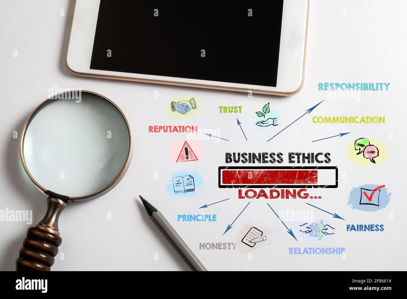 Etica aziendale. Fiducia, reputazione, comunicazione e concetto di relazione. Caricamento di parole chiave e icone. Smartphone su tavolo bianco Foto Stock
