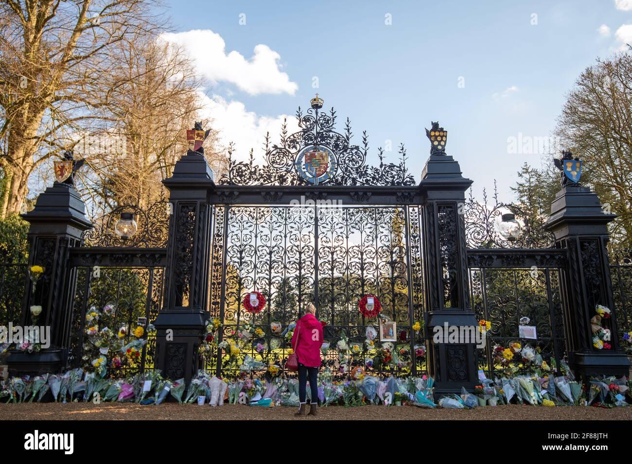 Una donna rende omaggio al suo esterno alle porte della Sandringham House di Norfolk, dopo l'annuncio, venerdì 9 aprile, della morte del duca di Edimburgo all'età di 99 anni. Data immagine: Lunedì 12 aprile 2021. Foto Stock