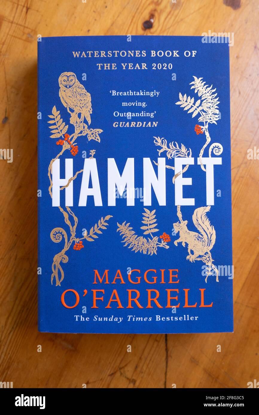 Libro di HAMNET romanzo di disegno di copertina della femmina britannica dell'Irlanda del Nord Donna autore scrittore Maggie o'Farrell 2020 UK KATHY DEWITT Foto Stock