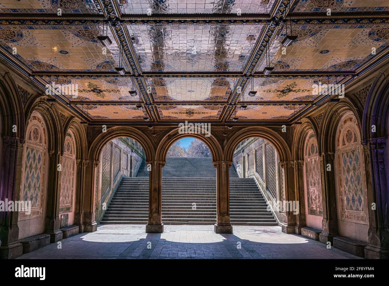 Bethesda Terrace, Central Park, New York City Foto Stock