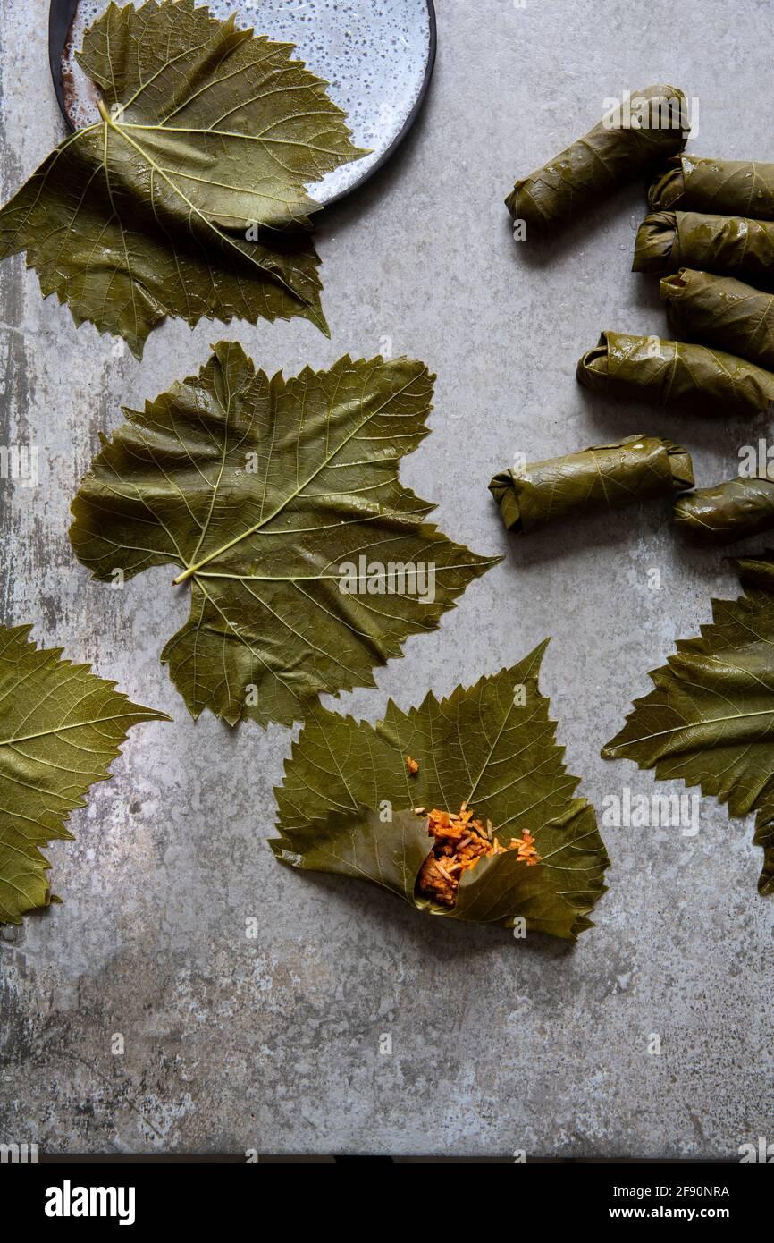 Koupepia con foglie di vite ripiene Foto Stock