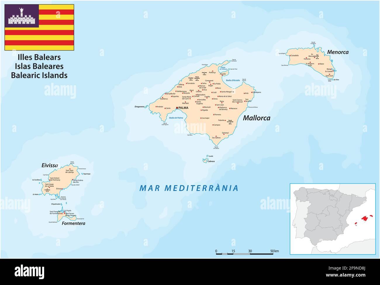 Cartina Spagna Isole Baleari.Mappa Di Ibiza Ibiza Isole Baleari Spagna Estate In Europa Foto Stock Alamy