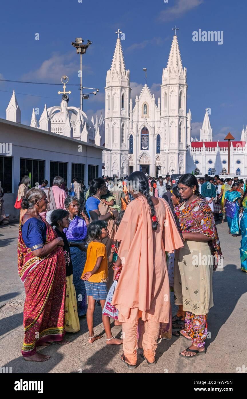 Santuario Basilica di Nostra Signora di buona salute Velankanni Tamil Nadu India Foto Stock