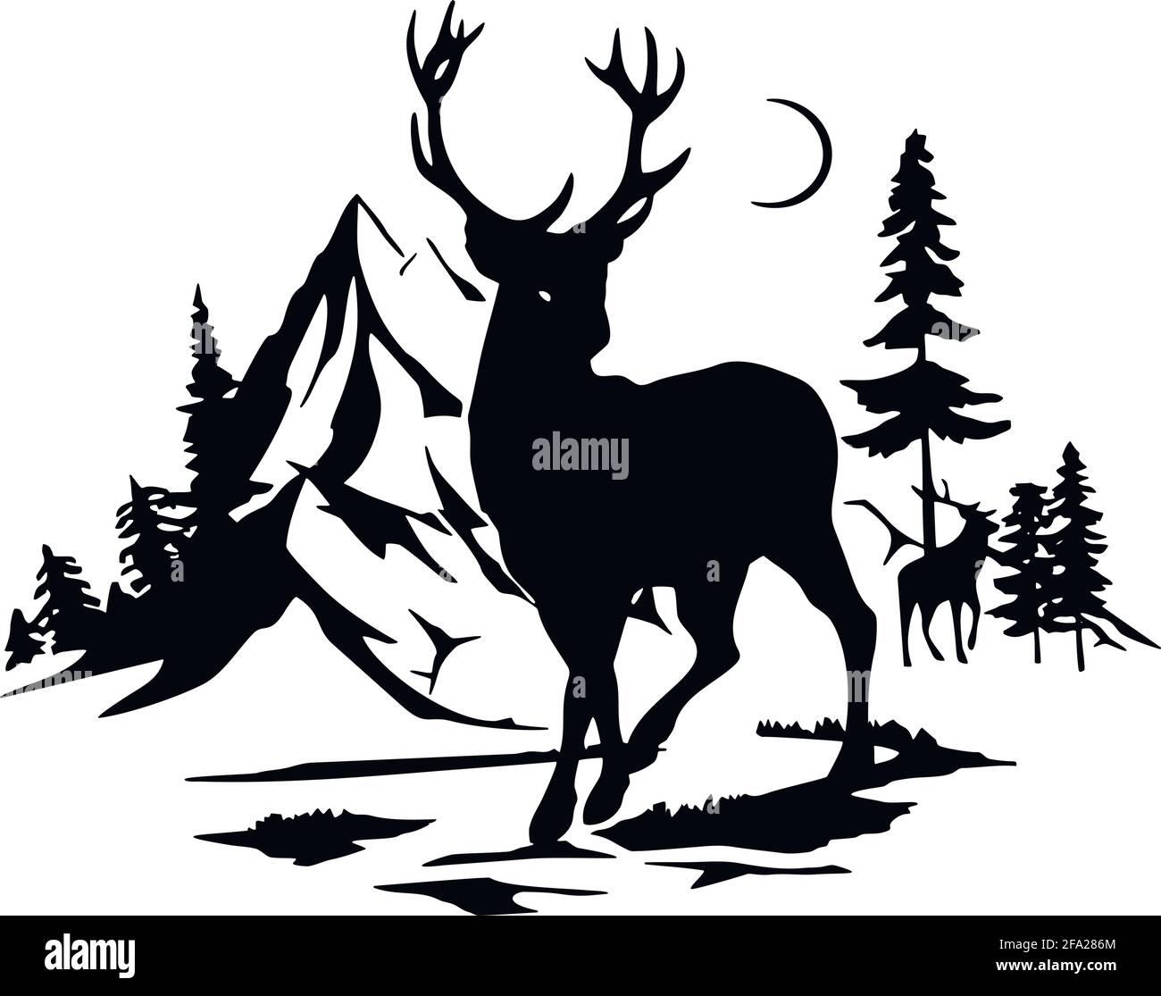 Cervi - stencil della fauna selvatica - Silhouette del cervo, Clitpart della fauna selvatica isolato su bianco Illustrazione Vettoriale