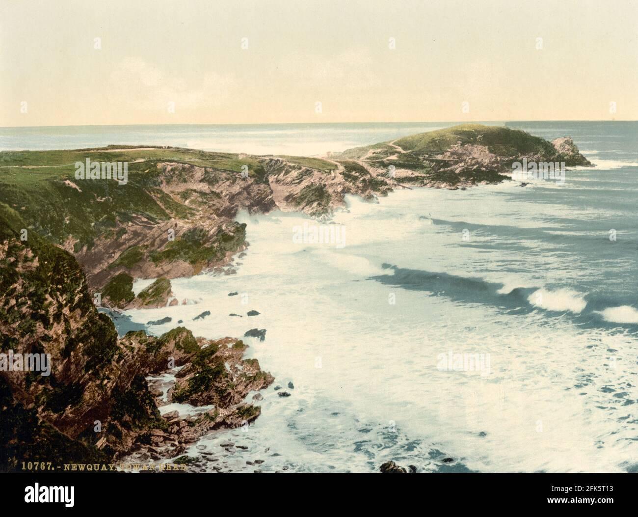 Towan Head vicino a Newquay, Cornovaglia circa 1890-1900 Foto Stock