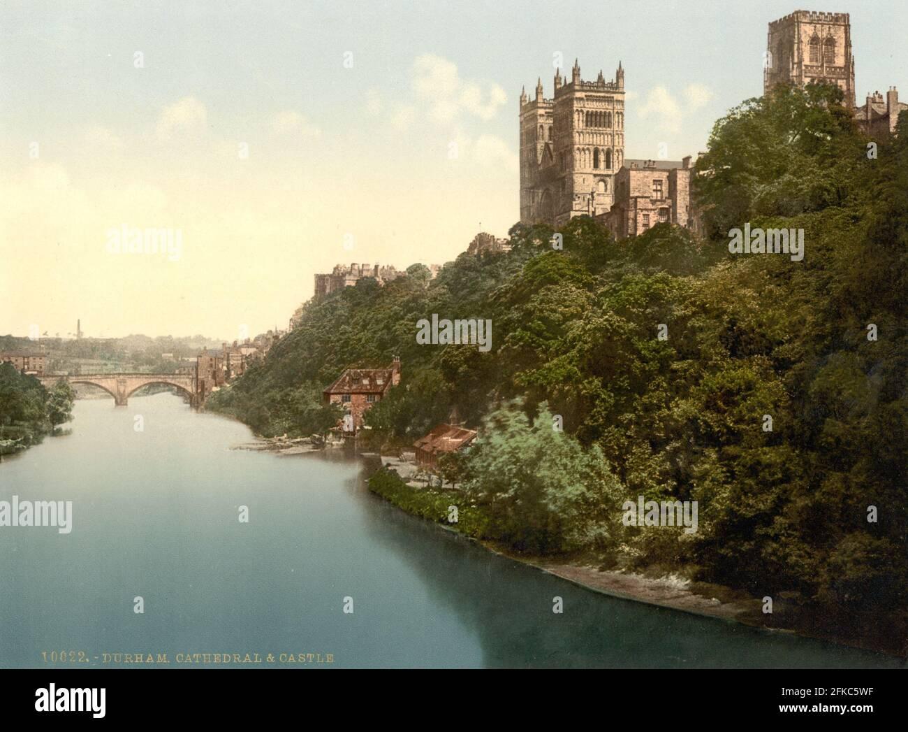 Durham cattedrale e il fiume Wear circa 1890-1900 Foto Stock