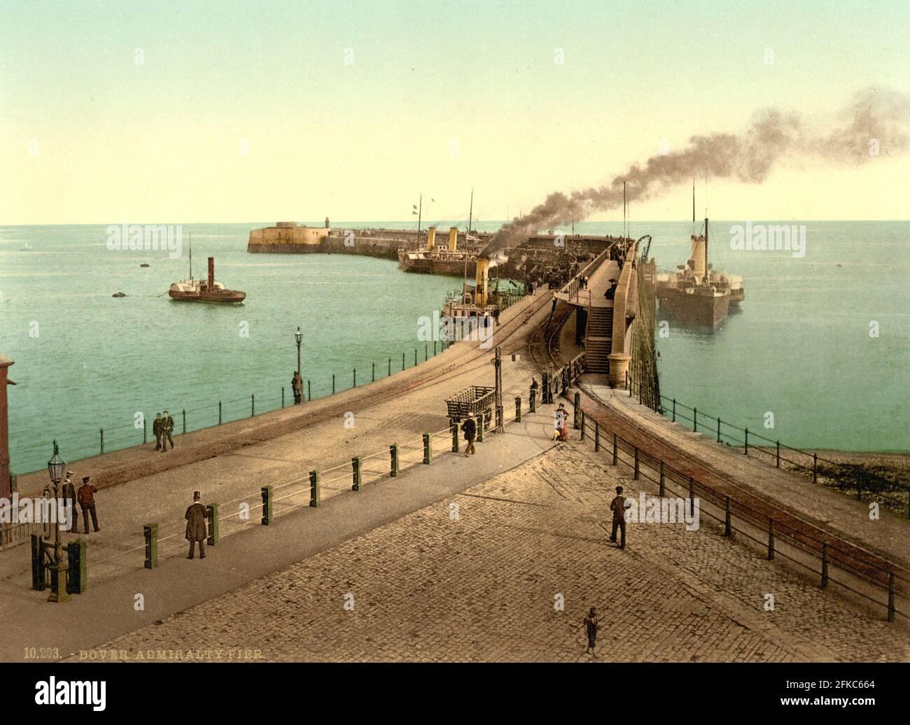 Admiralty Pier, dover a Kent circa 1890-1900 Foto Stock