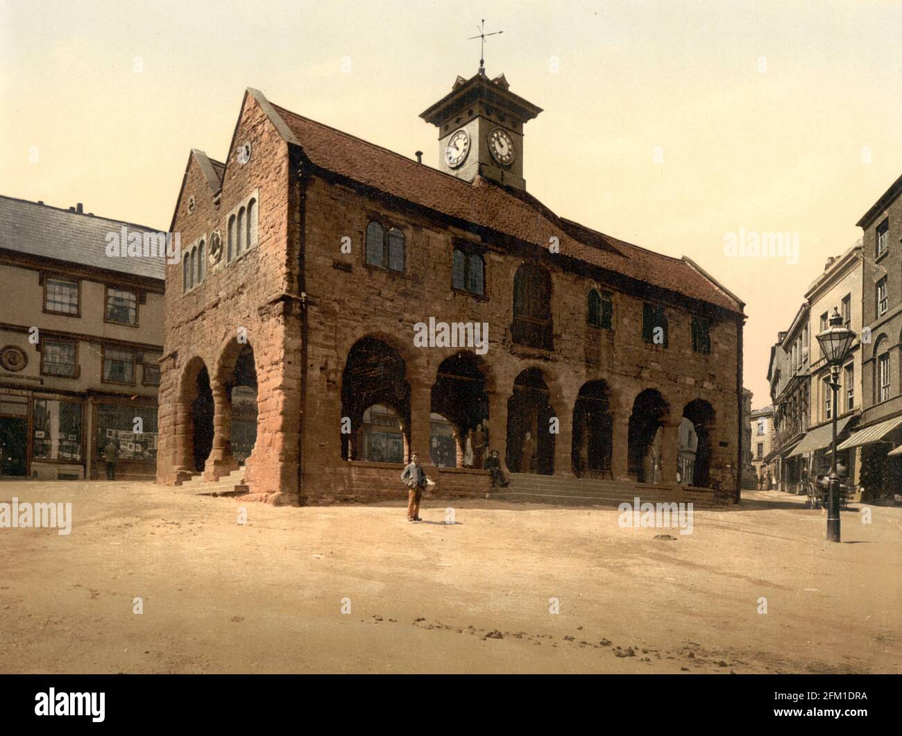The Market House, Ross-on-Wye in Herefordshire, circa 1890-1900 Foto Stock