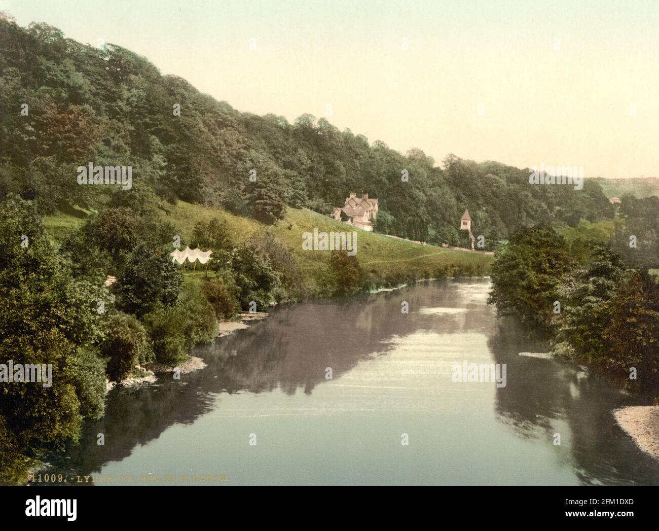 Il fiume Wye a Welsh Bickidor in Herefordshire circa 1890-1900 Foto Stock
