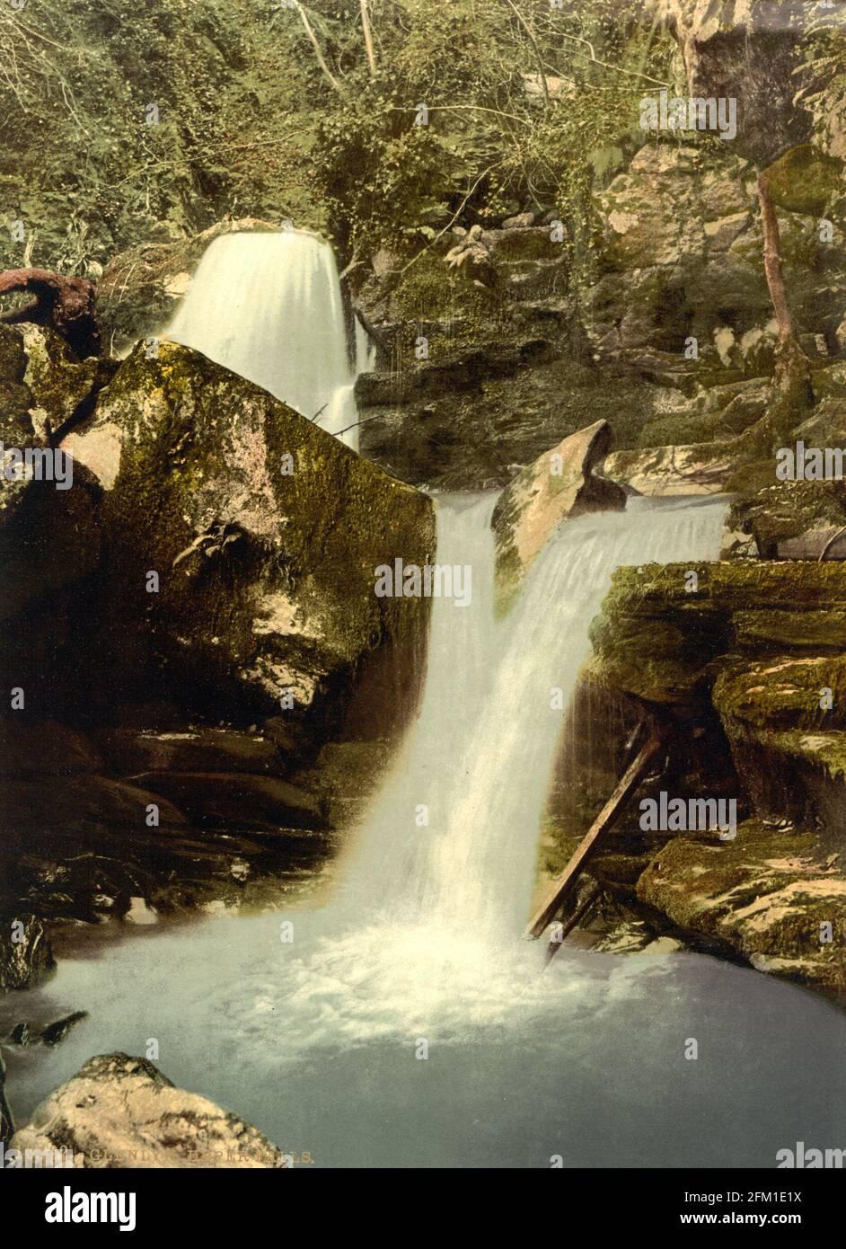 Le cascate superiori di Glen Lyn Gorge vicino Lynmouth in Devin circa 1890-1900 Foto Stock