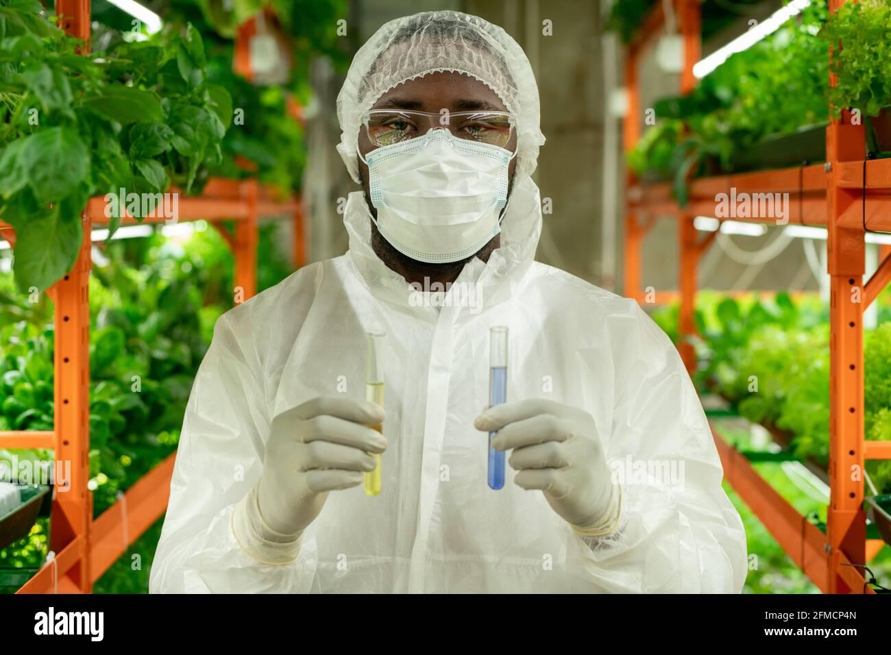 Ritratto di un giovane coltivatore afroamericano in berretto, maschera e occhiali di sicurezza in piedi con provette di liquidi colorati in azienda verticale Foto Stock