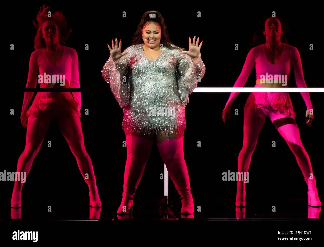 Rotterdam, Paesi Bassi. 13 maggio 2021. Destiny Chukunyere, in rappresentanza di Malta che ha eseguito la canzone JE Me casse alla prova del concorso di canzoni Eurovisione 2021. Credit: Notizie dal vivo di Nearchos/Alamy Foto Stock