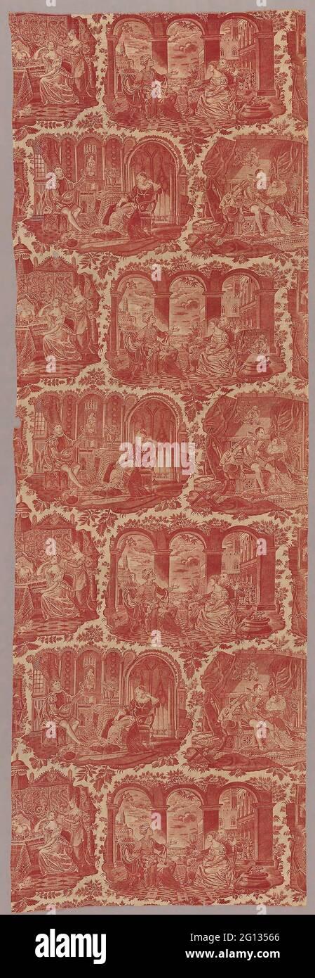 Tessuti per arredamento - 1827/40 - progettato da Philippe Wyngaert (fiammingo, attivo c. 1820) dopo incisione da Jean-Pierre-Marie Jazet (Francese, 1788-1871 Foto Stock
