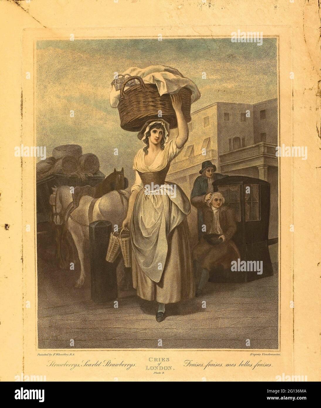 Autore: Francis Wheatley. Fragole, fragole scarlatto, piatto 9 dalle grida di Londra - 1799 - dopo Francis Wheatley inglese, 1747-1801. Foto Stock