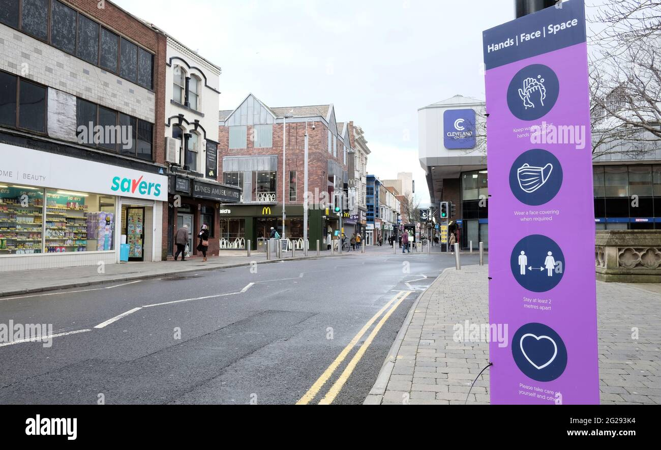 Centro di Middlesbrough, immagine del 4 gennaio 2021 Foto Stock