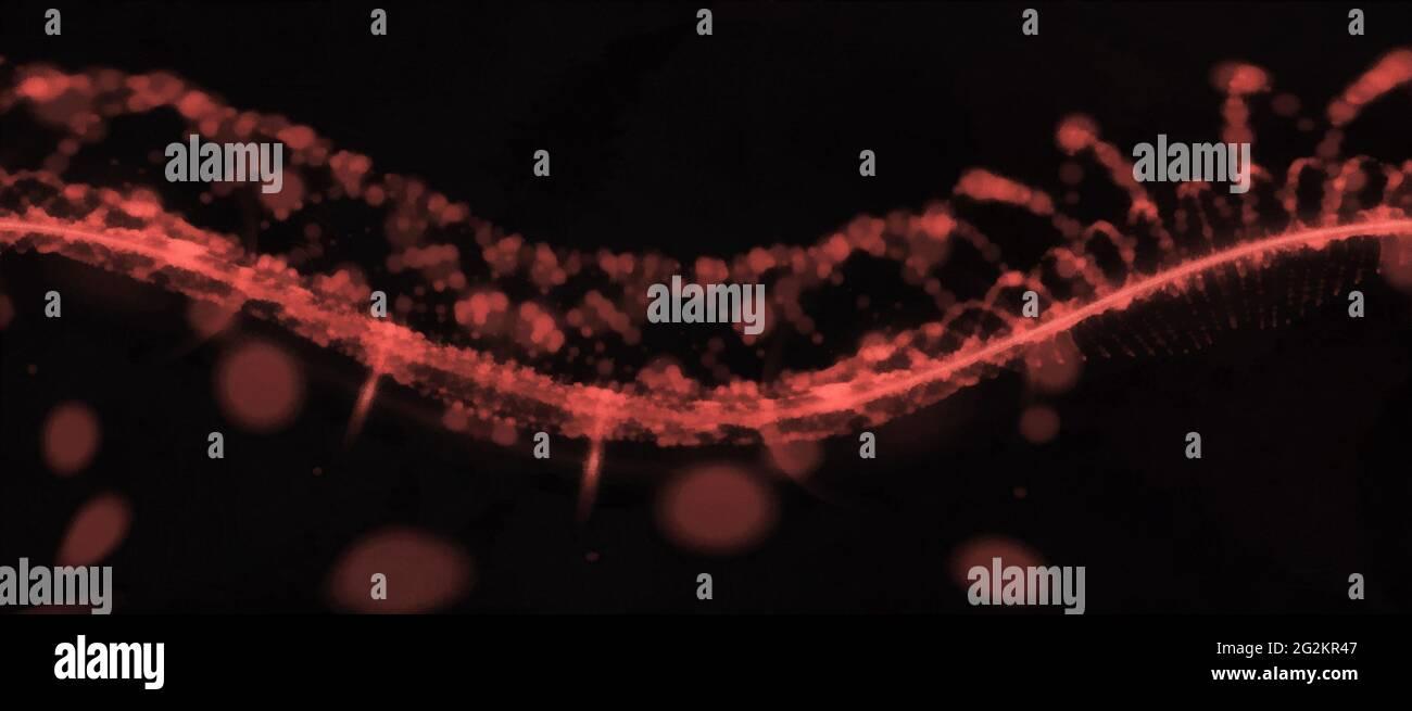 Spirale rossa astratta. Ampia vista panoramica. Sfondo nero Foto Stock
