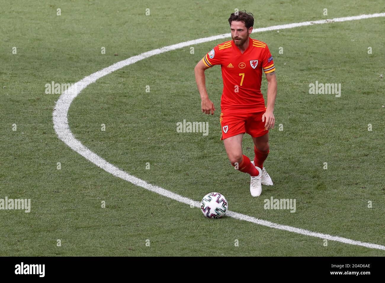 Roma, Italia, 20 giugno 2021. Joe Allen del Galles durante la partita UEFA Euro 2020 allo Stadio Olimpico di Roma. L'immagine di credito dovrebbe essere: Jonathan Moscop / Sportimage Foto Stock