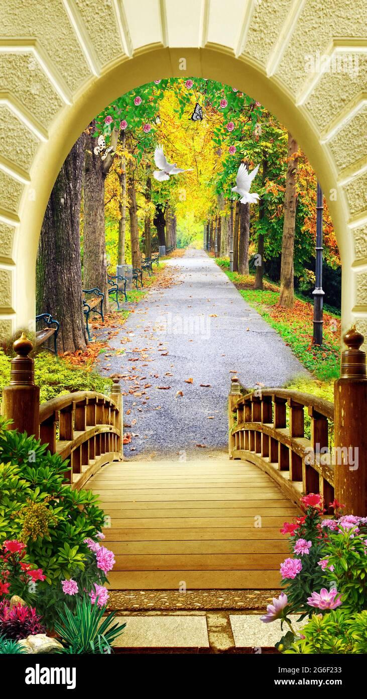 3d murale vista carta da parati . ponte in legno e fiori con strada in giardino con alberi e arco con piccione . Foto Stock