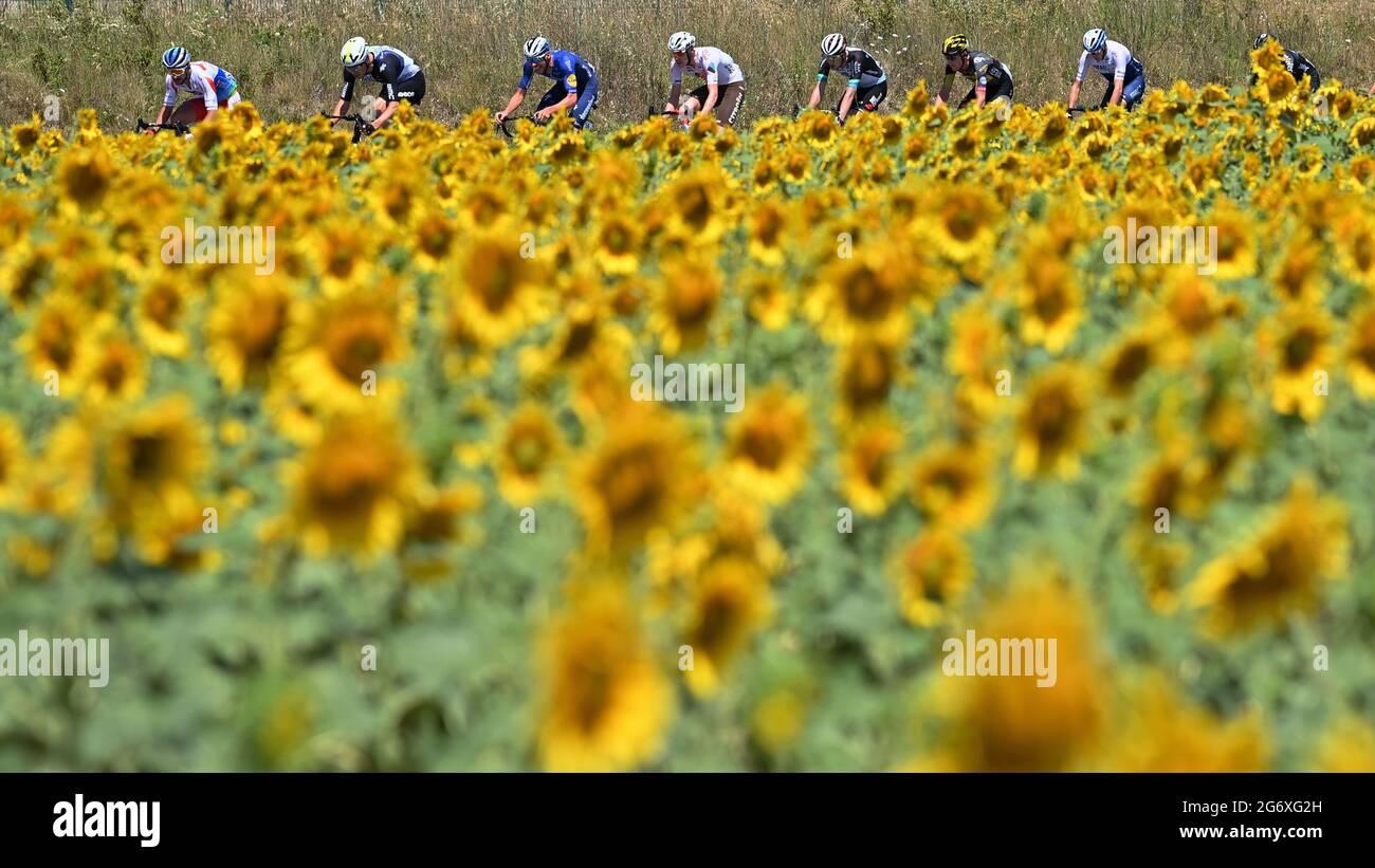 La figura mostra il pacchetto di piloti in azione durante la tappa 13 della 108a edizione della gara ciclistica Tour de France, da Nimes a Carne Foto Stock