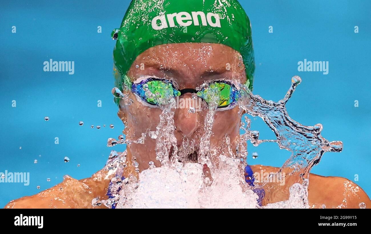 Tokyo 2020 Olimpiadi - Nuoto - Donna 100m sterno - Riscaldatori - Tokyo Aquatics Center - Tokyo, Giappone - 25 luglio 2021. Tatjana Schoenmaker del Sud Africa in azione REUTERS/Kai Pfaffenbach Foto Stock