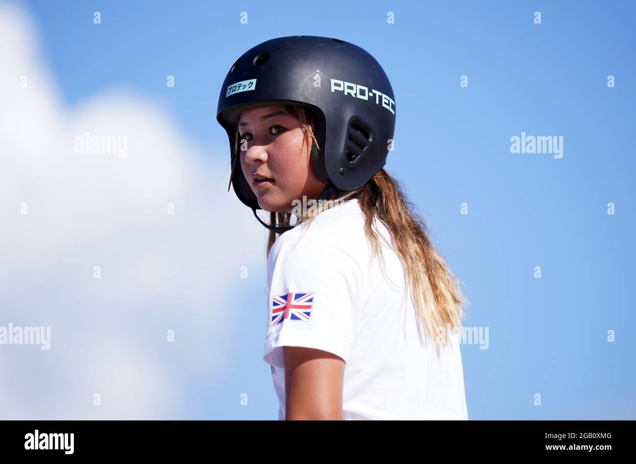 Great Britain's Sky Brown durante una sessione di allenamento all'Ariake Skateboard Park il decimo giorno dei Giochi Olimpici di Tokyo 2020 in Giappone. Data immagine: Lunedì 2 agosto 2021. Foto Stock
