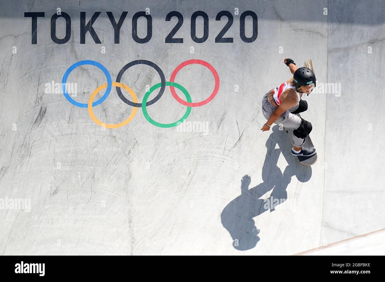 Great Britain's Sky Brown durante il Women's Park Prelims Heat all'Ariake Sports Park Skateboarding il dodicesimo giorno dei Giochi Olimpici di Tokyo 2020 in Giappone. Data immagine: Mercoledì 4 agosto 2021. Foto Stock